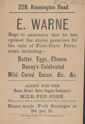 Advert For E. Warne, Dairy Produce